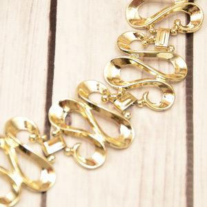 vintage wavy gold loop link bracelet